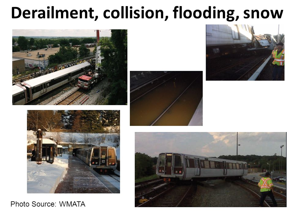 Photo Source: WMATA Derailment, collision, flooding, snow