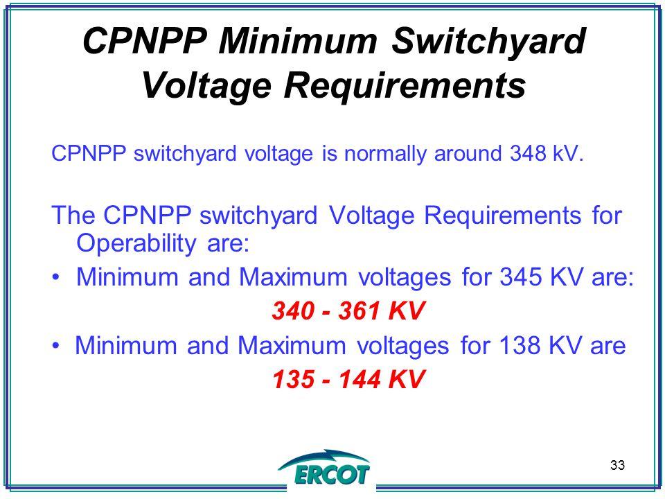 CPNPP Minimum Switchyard Voltage Requirements CPNPP switchyard voltage is normally around 348 kV.