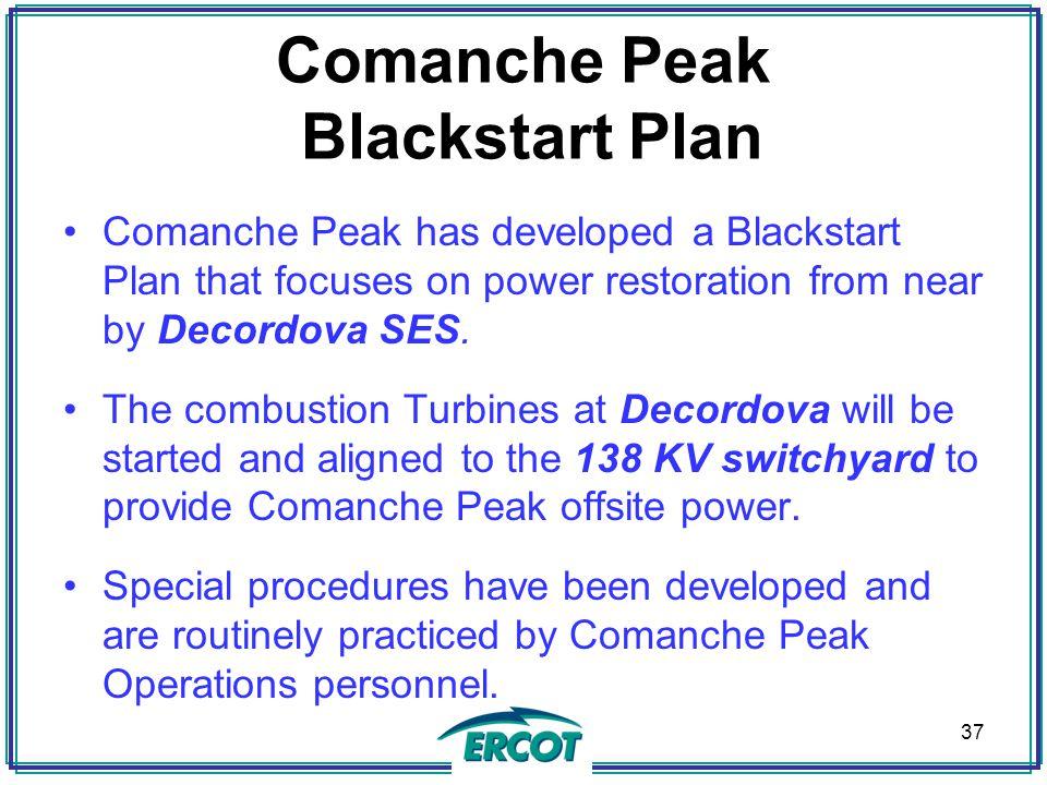 Comanche Peak Blackstart Plan Comanche Peak has developed a Blackstart Plan that focuses on power restoration from near by Decordova SES.