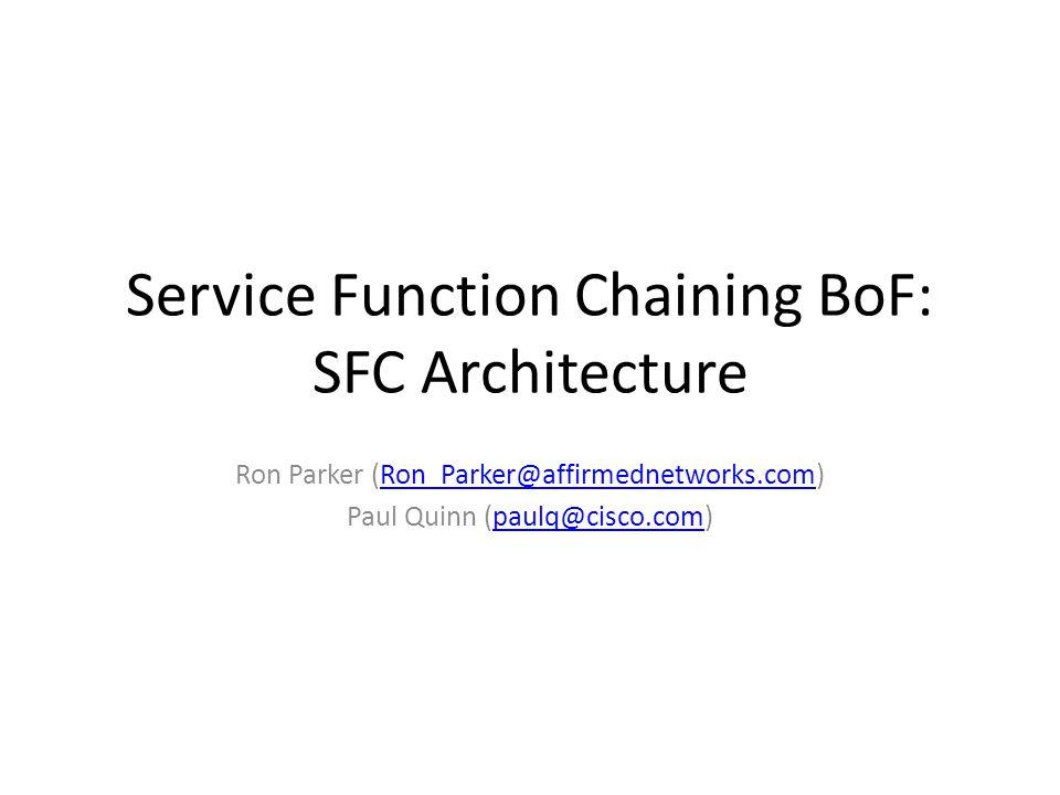 Service Function Chaining BoF: SFC Architecture Ron Parker (Ron_Parker@affirmednetworks.com)Ron_Parker@affirmednetworks.com Paul Quinn (paulq@cisco.co