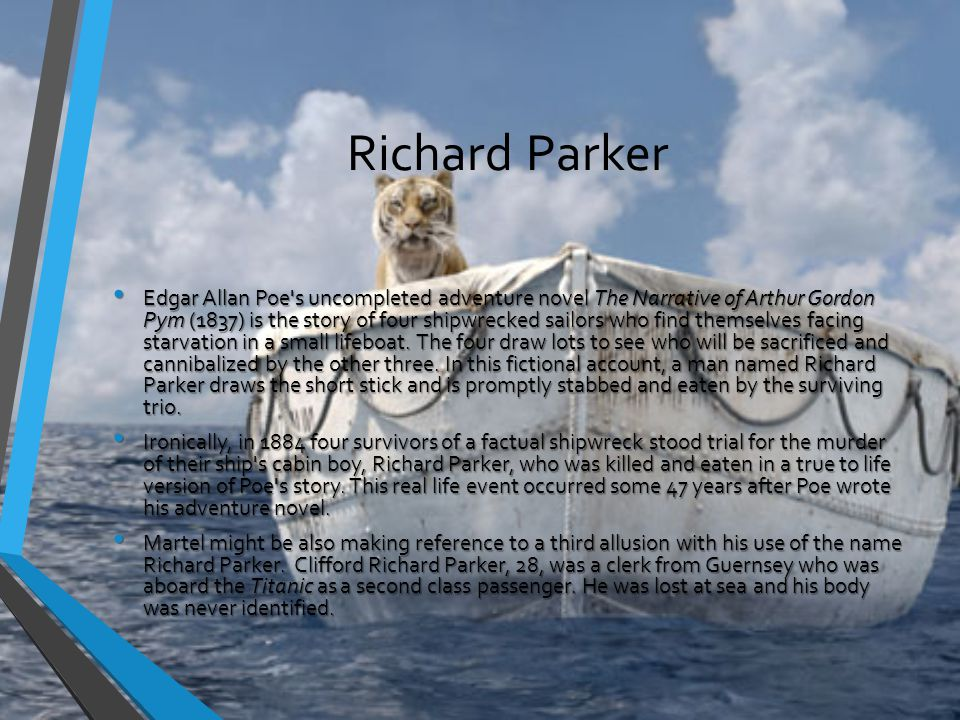 Richard Parker Edgar Allan Poe s uncompleted adventure novel The Narrative of Arthur Gordon Pym (1837) is the story of four shipwrecked sailors who find themselves facing starvation in a small lifeboat.