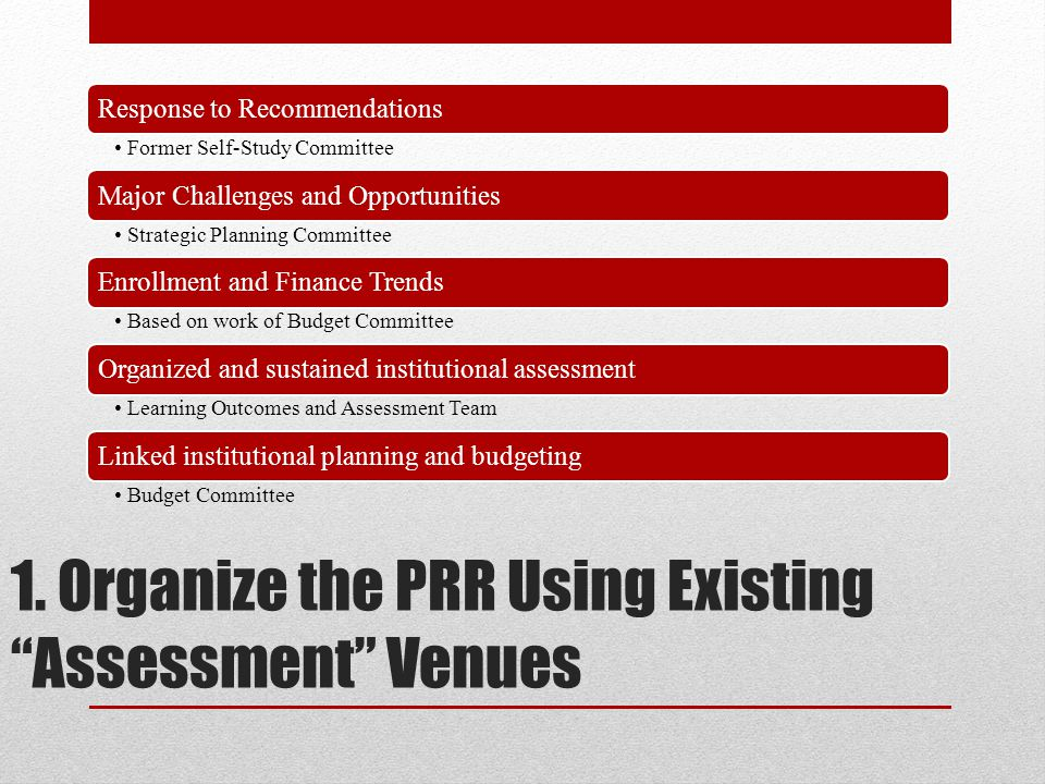 "1. Organize the PRR Using Existing ""Assessment"" Venues Response to Recommendations Former Self-Study Committee Major Challenges and Opportunities Stra"