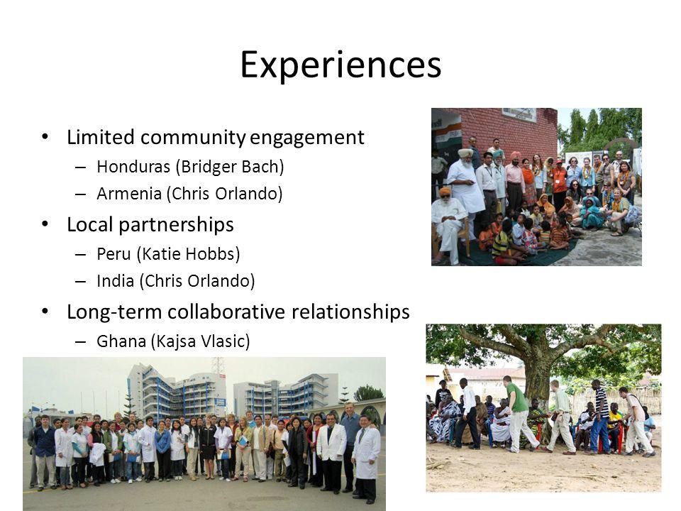Experiences Limited community engagement – Honduras (Bridger Bach) – Armenia (Chris Orlando) Local partnerships – Peru (Katie Hobbs) – India (Chris Or