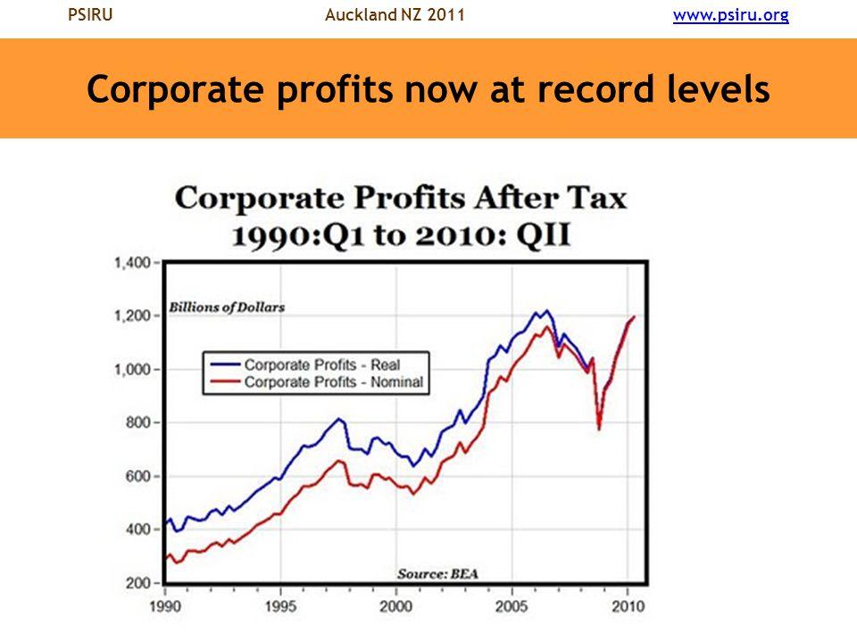 PSIRU Auckland NZ 2011 www.psiru.orgwww.psiru.org Corporate profits now at record levels