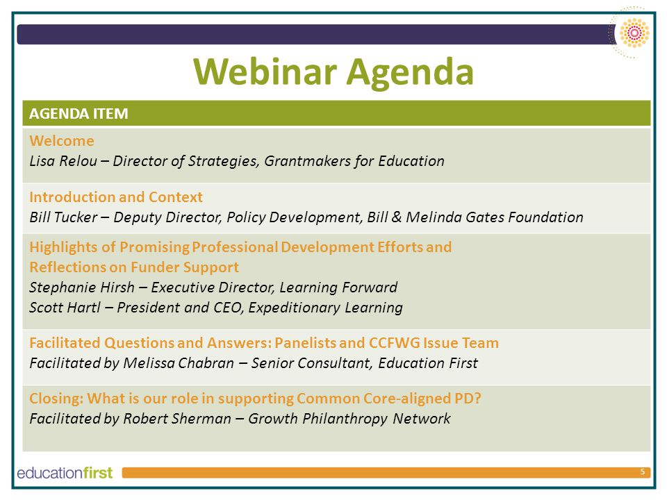 Webinar Agenda 5 AGENDA ITEM Welcome Lisa Relou – Director of Strategies, Grantmakers for Education Introduction and Context Bill Tucker – Deputy Director, Policy Development, Bill & Melinda Gates Foundation Highlights of Promising Professional Development Efforts and Reflections on Funder Support Stephanie Hirsh – Executive Director, Learning Forward Scott Hartl – President and CEO, Expeditionary Learning Facilitated Questions and Answers: Panelists and CCFWG Issue Team Facilitated by Melissa Chabran – Senior Consultant, Education First Closing: What is our role in supporting Common Core-aligned PD.