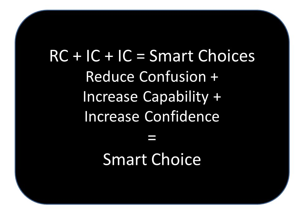 RC + IC + IC = Smart Choices Reduce Confusion + Increase Capability + Increase Confidence = Smart Choice
