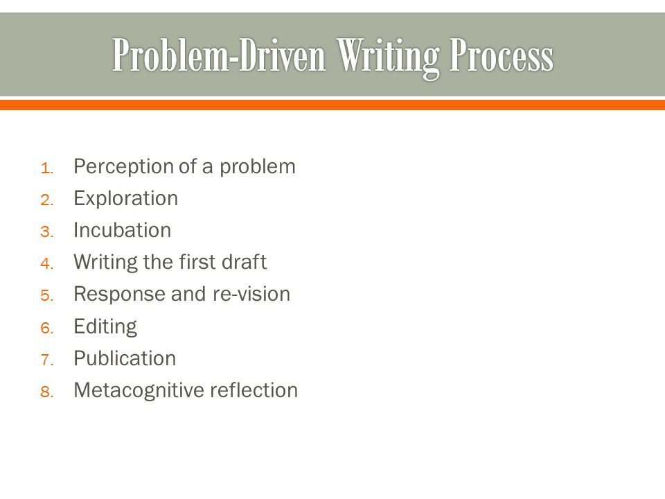 1. Perception of a problem 2. Exploration 3. Incubation 4. Writing the first draft 5. Response and re-vision 6. Editing 7. Publication 8. Metacognitiv