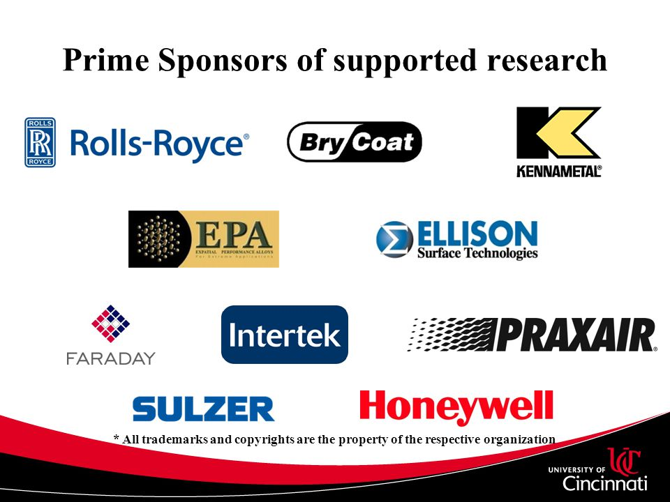 Prime Sponsors of supported research * All trademarks and copyrights are the property of the respective organization