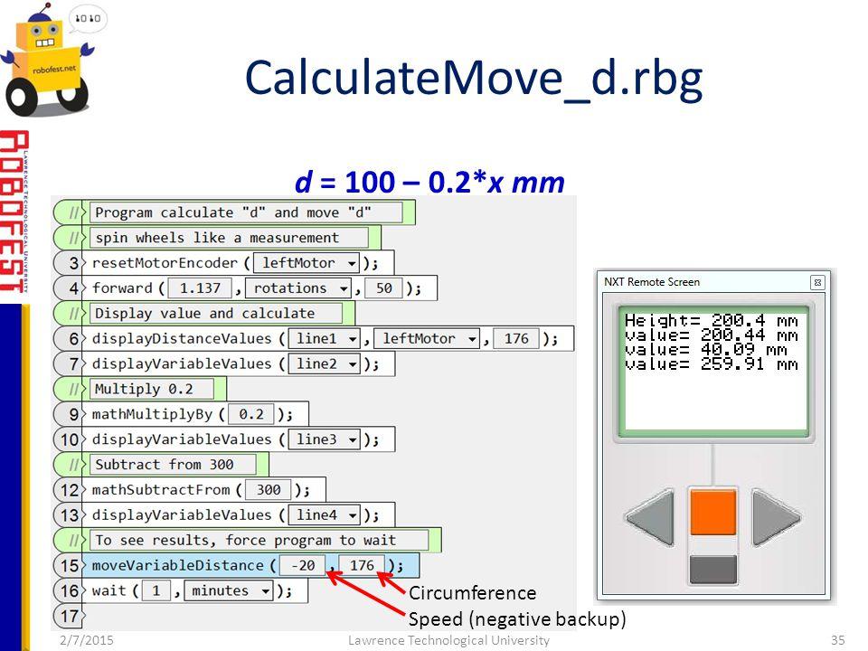2/7/2015Lawrence Technological University35 CalculateMove_d.rbg d = 100 – 0.2*x mm Circumference Speed (negative backup)