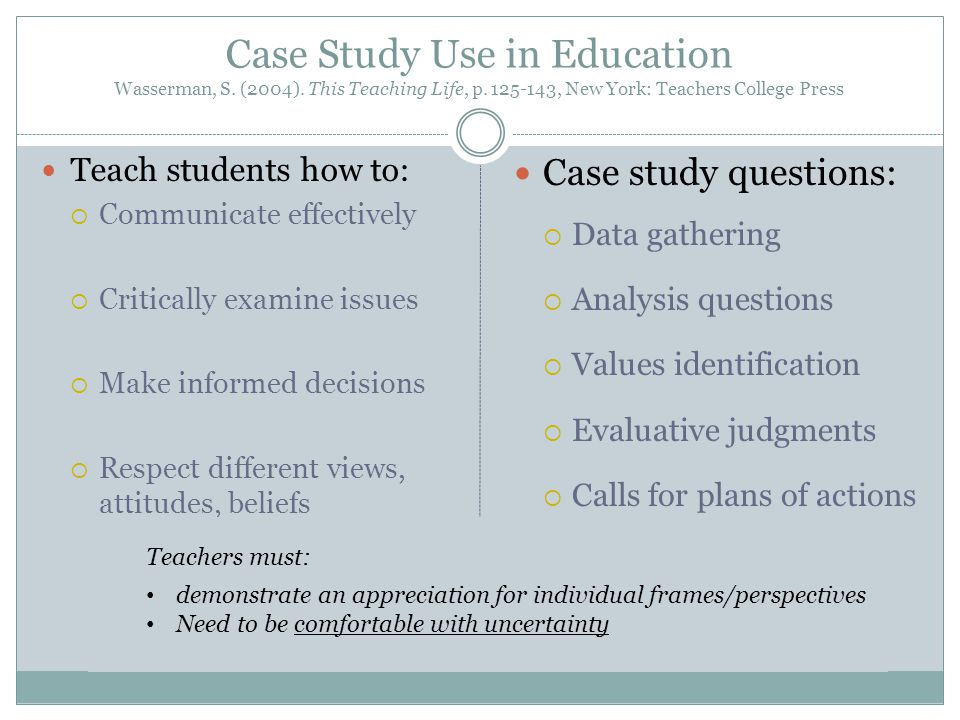 Case Study Use in Education Wasserman, S. (2004).