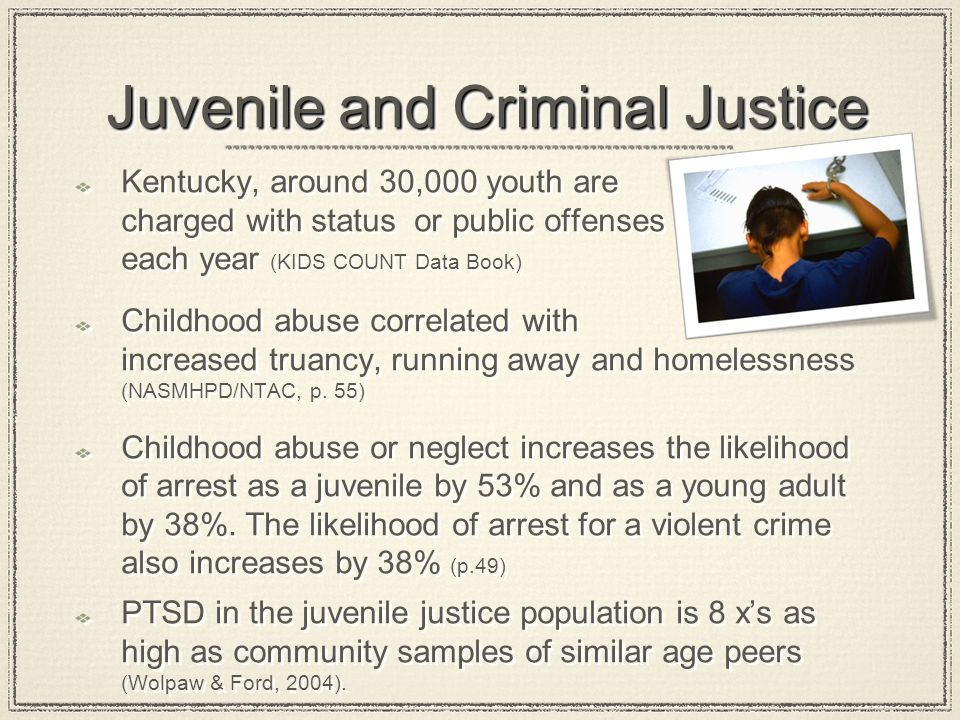 Juvenile and Criminal Justice Juvenile and Criminal Justice Kentucky, around 30,000 youth are charged with status or public offenses each year (KIDS C