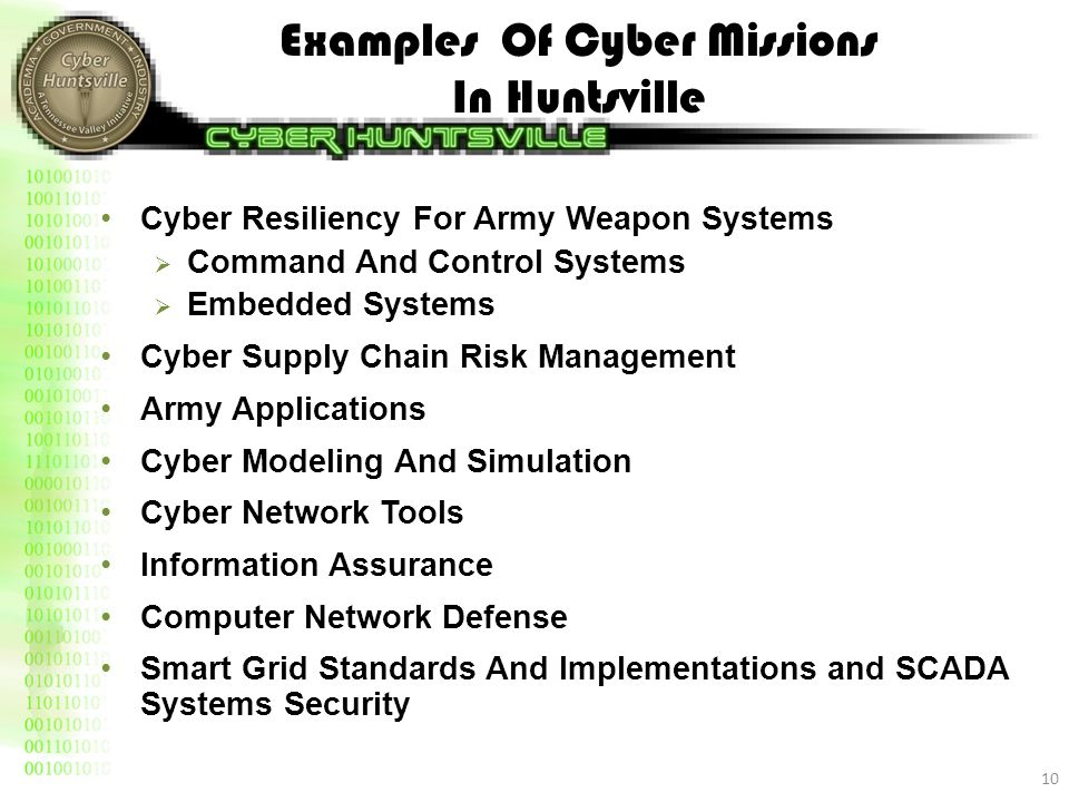 Examples Of Cyber Missions In Huntsville Cyber Resiliency For Army Weapon Systems  Command And Control Systems  Embedded Systems Cyber Supply Chain Risk Management Army Applications Cyber Modeling And Simulation Cyber Network Tools Information Assurance Computer Network Defense Smart Grid Standards And Implementations and SCADA Systems Security 10