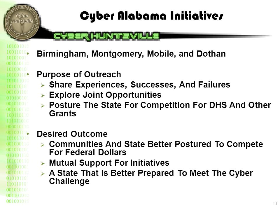 Cyber Alabama Initiatives Birmingham, Montgomery, Mobile, and Dothan Purpose of Outreach  Share Experiences, Successes, And Failures  Explore Joint Opportunities  Posture The State For Competition For DHS And Other Grants Desired Outcome  Communities And State Better Postured To Compete For Federal Dollars  Mutual Support For Initiatives  A State That Is Better Prepared To Meet The Cyber Challenge 11
