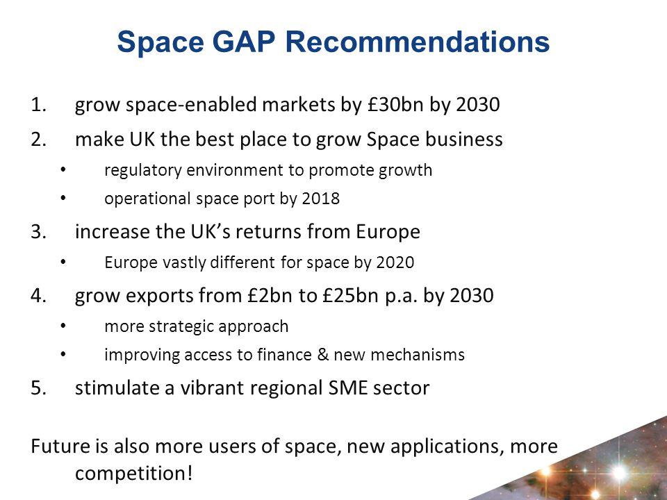 Space GAP Recommendations 1.grow space-enabled markets by £30bn by 2030 2.make UK the best place to grow Space business regulatory environment to promote growth operational space port by 2018 3.increase the UK's returns from Europe Europe vastly different for space by 2020 4.grow exports from £2bn to £25bn p.a.