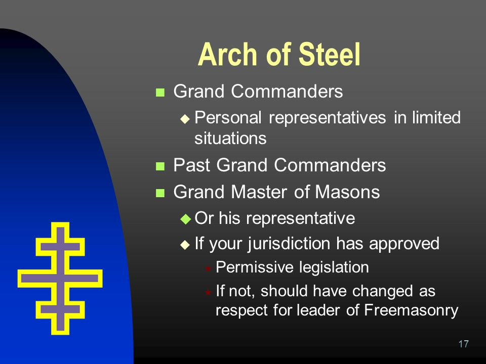 17 Arch of Steel Grand Commanders  Personal representatives in limited situations Past Grand Commanders Grand Master of Masons  Or his representativ