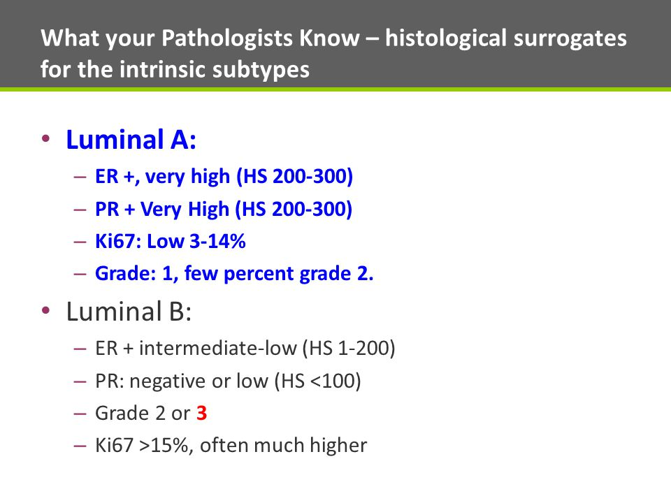 What your Pathologists Know – histological surrogates for the intrinsic subtypes Luminal A: – ER +, very high (HS 200-300) – PR + Very High (HS 200-300) – Ki67: Low 3-14% – Grade: 1, few percent grade 2.