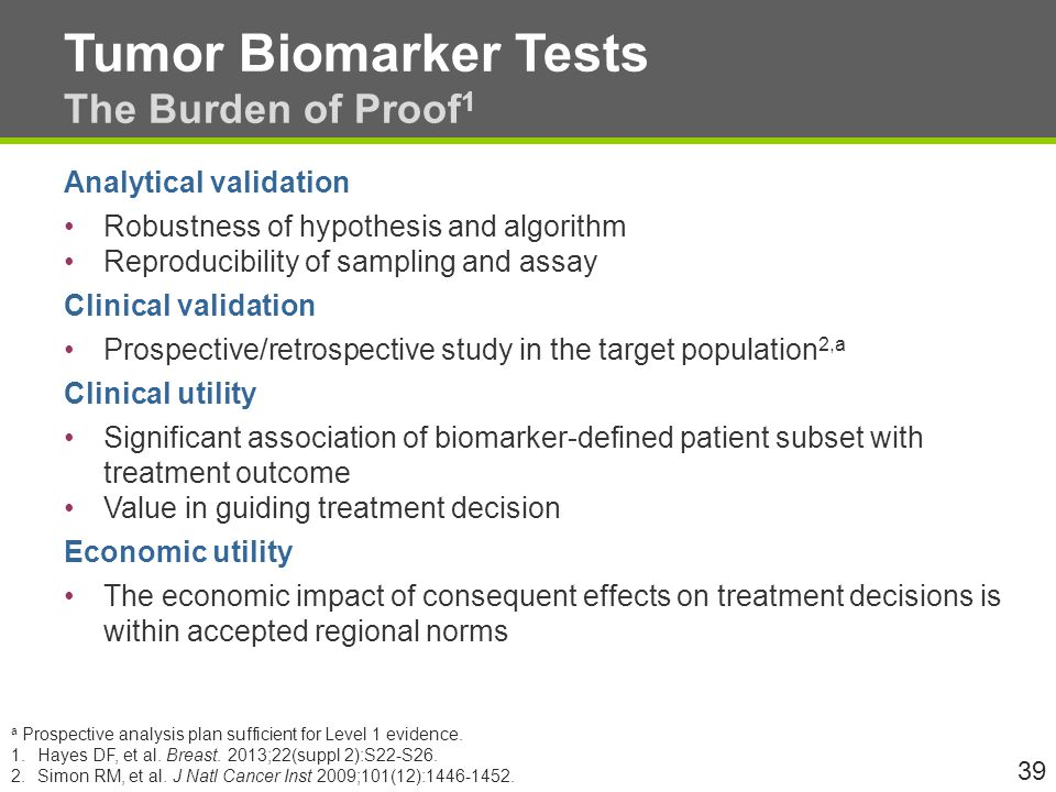 Tumor Biomarker Tests The Burden of Proof 1 Analytical validation Robustness of hypothesis and algorithm Reproducibility of sampling and assay Clinical validation Prospective/retrospective study in the target population 2,a Clinical utility Significant association of biomarker-defined patient subset with treatment outcome Value in guiding treatment decision Economic utility The economic impact of consequent effects on treatment decisions is within accepted regional norms 39 a Prospective analysis plan sufficient for Level 1 evidence.