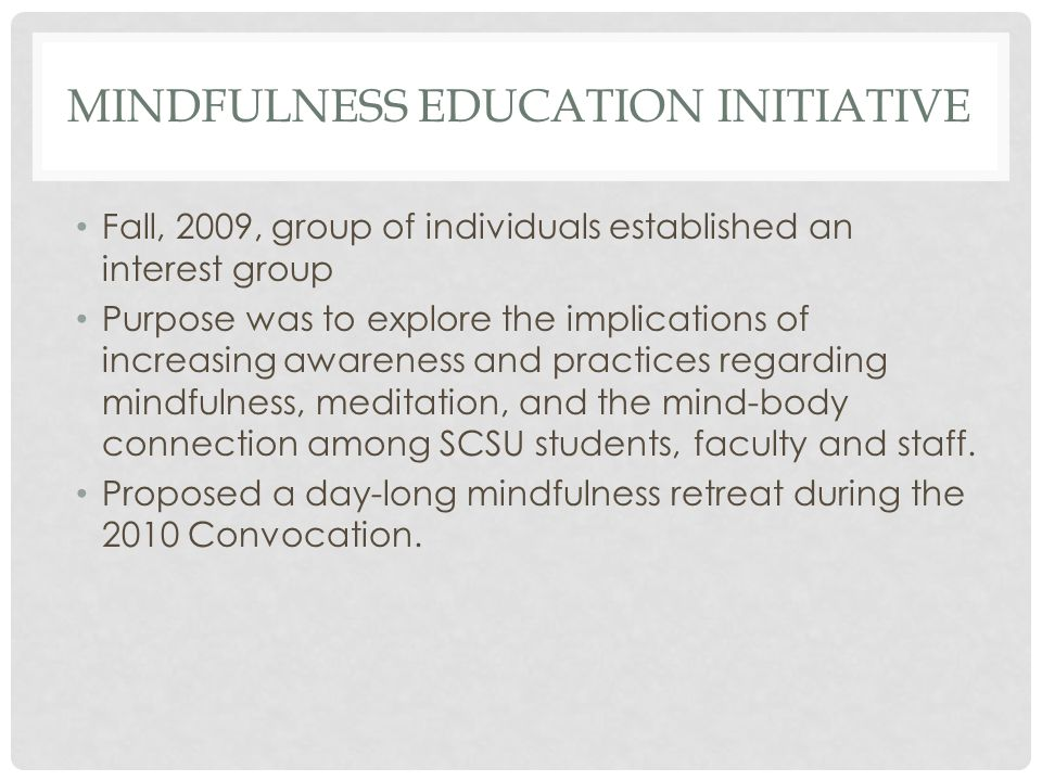 MINDFULNESS EDUCATION INITIATIVE Fall, 2009, group of individuals established an interest group Purpose was to explore the implications of increasing awareness and practices regarding mindfulness, meditation, and the mind-body connection among SCSU students, faculty and staff.
