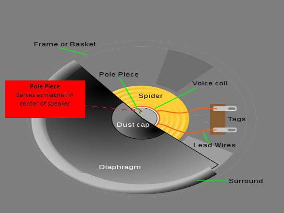 Pole Piece Serves as magnet in center of speaker