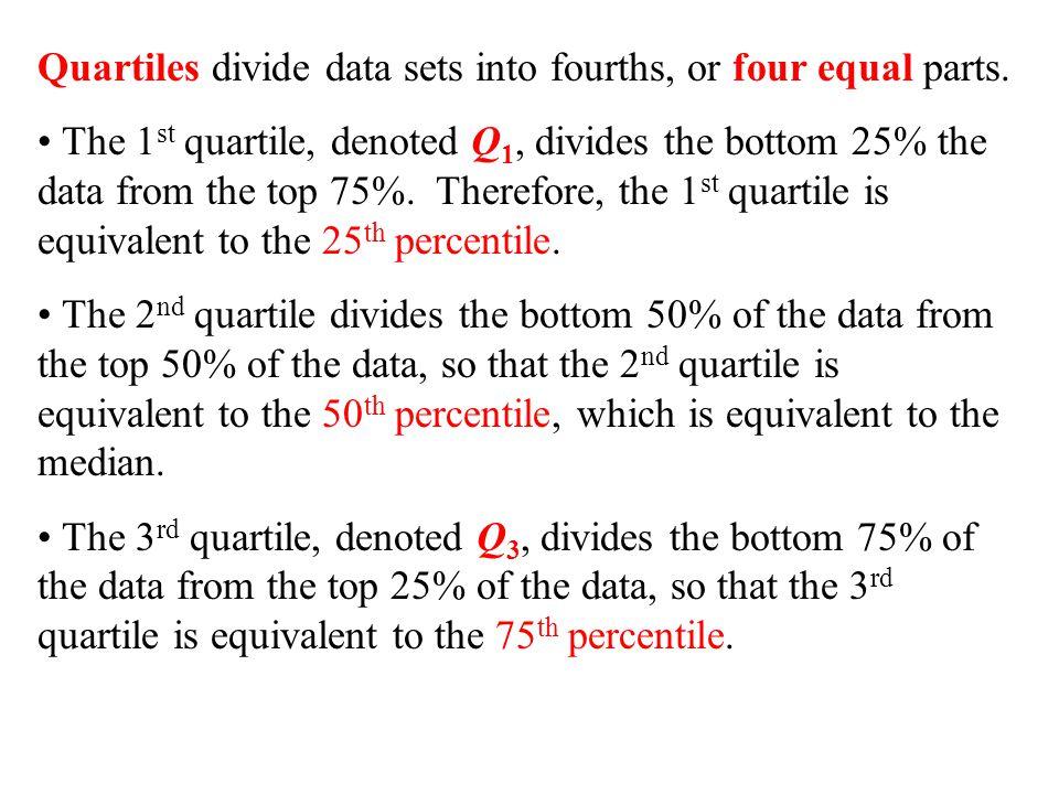 Quartiles divide data sets into fourths, or four equal parts.