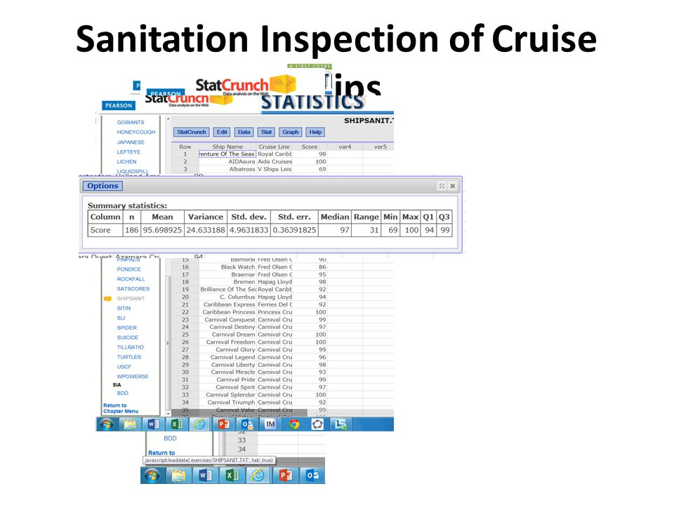 a. Find the mean and standard deviation of the sanitation scores.