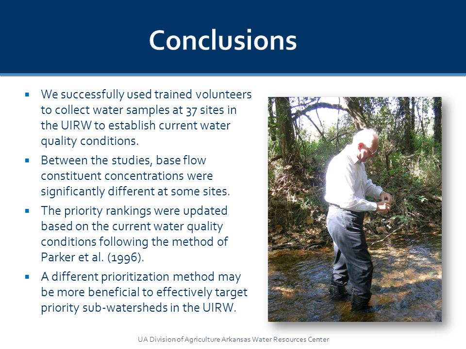  We successfully used trained volunteers to collect water samples at 37 sites in the UIRW to establish current water quality conditions.