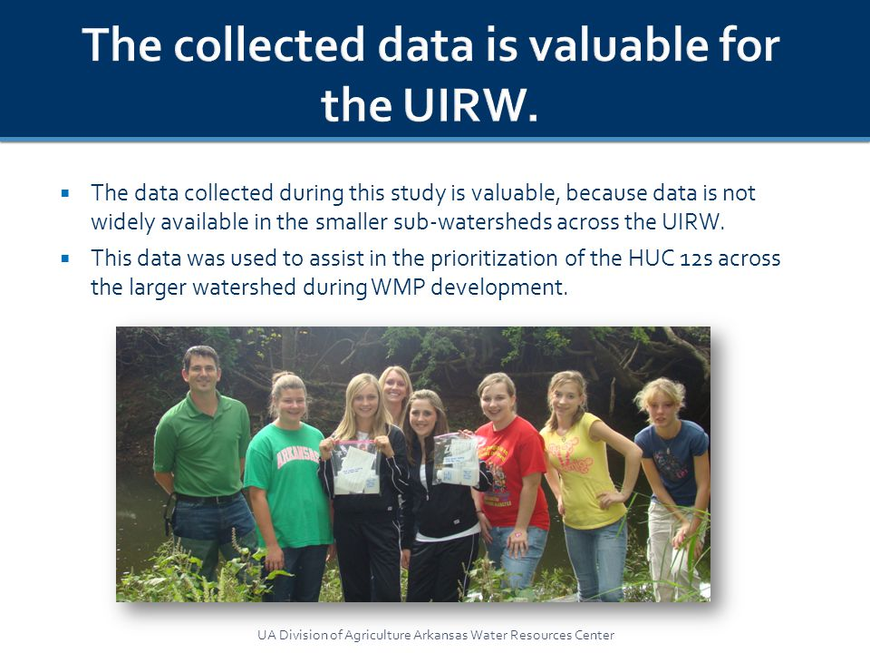  The data collected during this study is valuable, because data is not widely available in the smaller sub-watersheds across the UIRW.