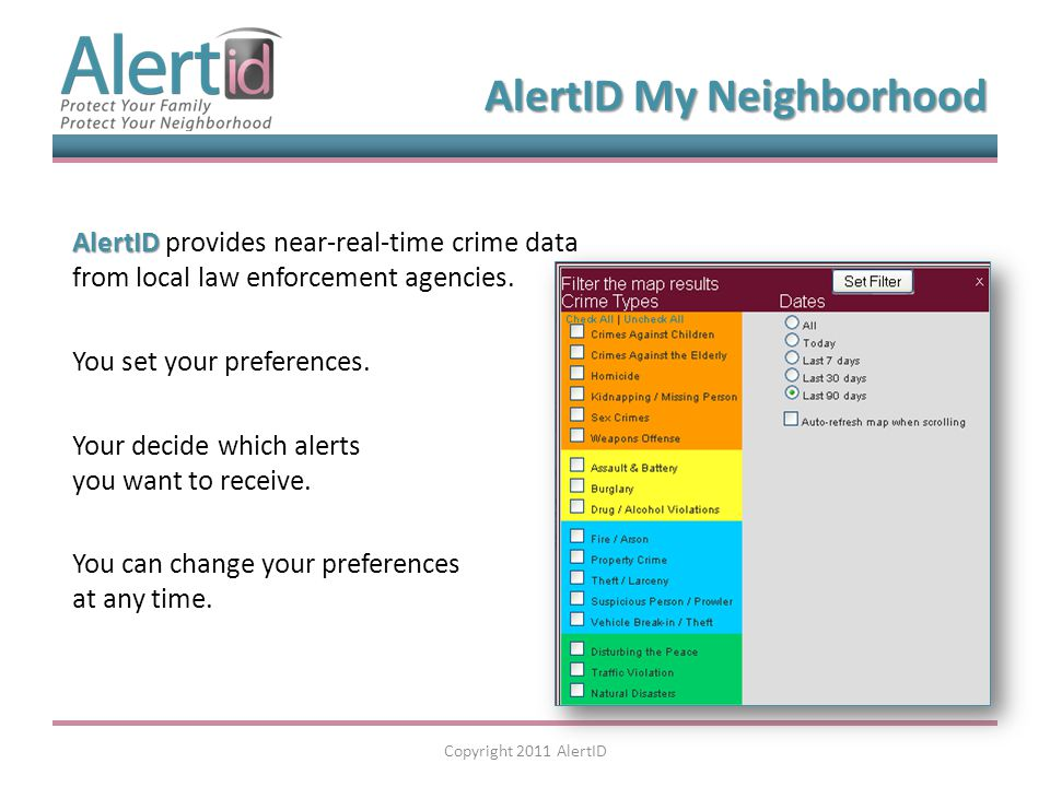 AlertID AlertID provides near-real-time crime data from local law enforcement agencies.