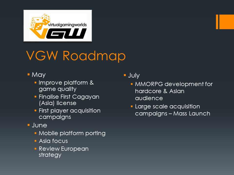 VGW Roadmap  May  Improve platform & game quality  Finalise First Cagayan (Asia) license  First player acquisition campaigns  June  Mobile platform porting  Asia focus  Review European strategy  July  MMORPG development for hardcore & Asian audience  Large scale acquisition campaigns – Mass Launch