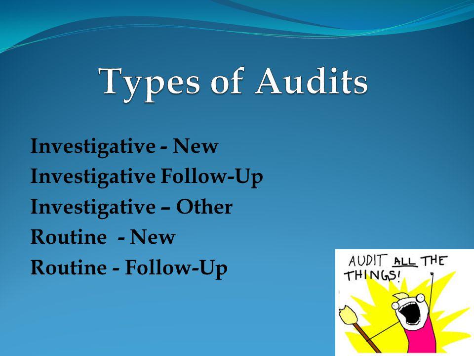 Investigative - New Investigative Follow-Up Investigative – Other Routine - New Routine - Follow-Up