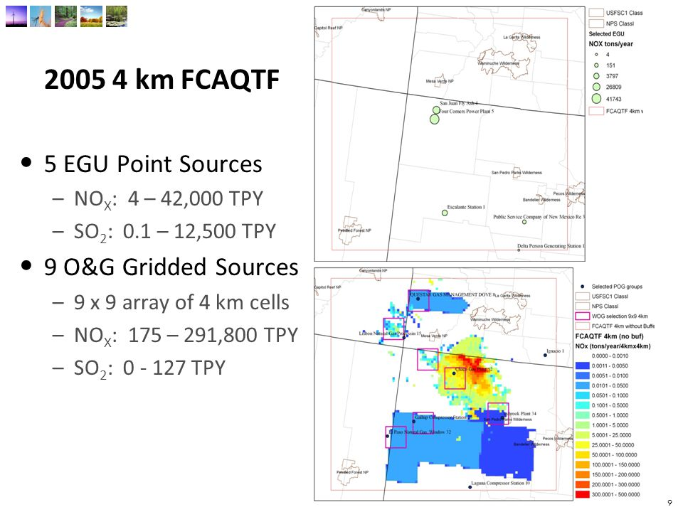 10 2006 12 km UT-CO 13 EGU Point Sources –NO X : 13 – 34,700 TPY –SO 2 : 0 – 17,300 TPY 11 O&G Gridded Sources –3 x 3 array of 12 km cells –NO X : 51 – 10,30 TPY –SO 2 : 0 - 14 TPY 10