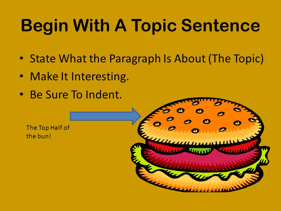 Begin With A Topic Sentence State What the Paragraph Is About (The Topic) Make It Interesting.