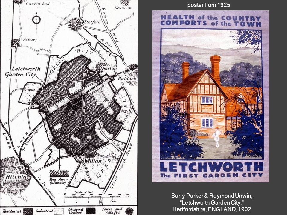 Barry Parker & Raymond Unwin, Letchworth Garden City, Hertfordshire, ENGLAND, 1902 poster from 1925
