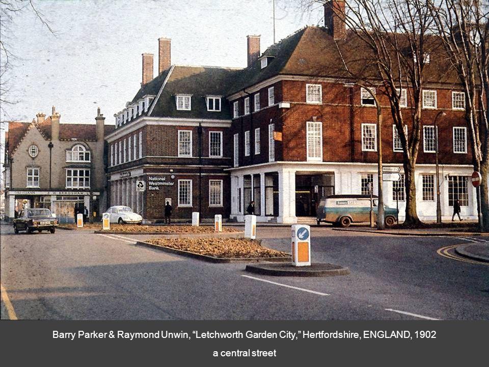 Barry Parker & Raymond Unwin, Letchworth Garden City, Hertfordshire, ENGLAND, 1902 a central street