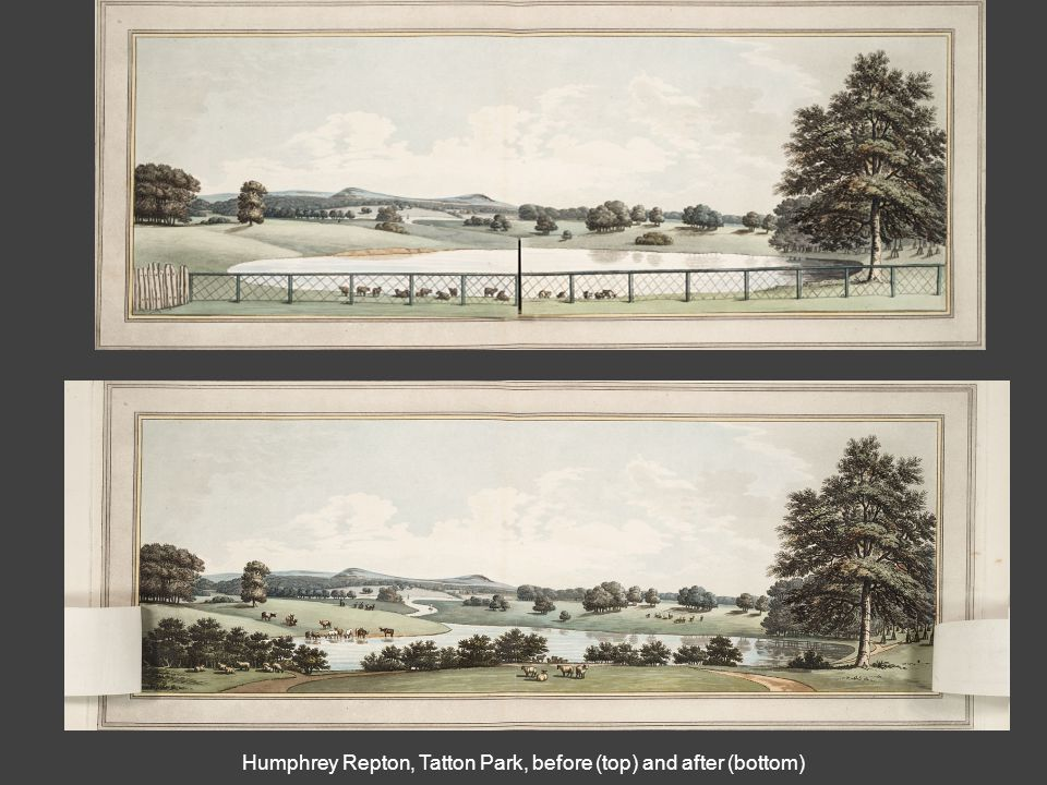 Humphrey Repton, Tatton Park, before (top) and after (bottom)