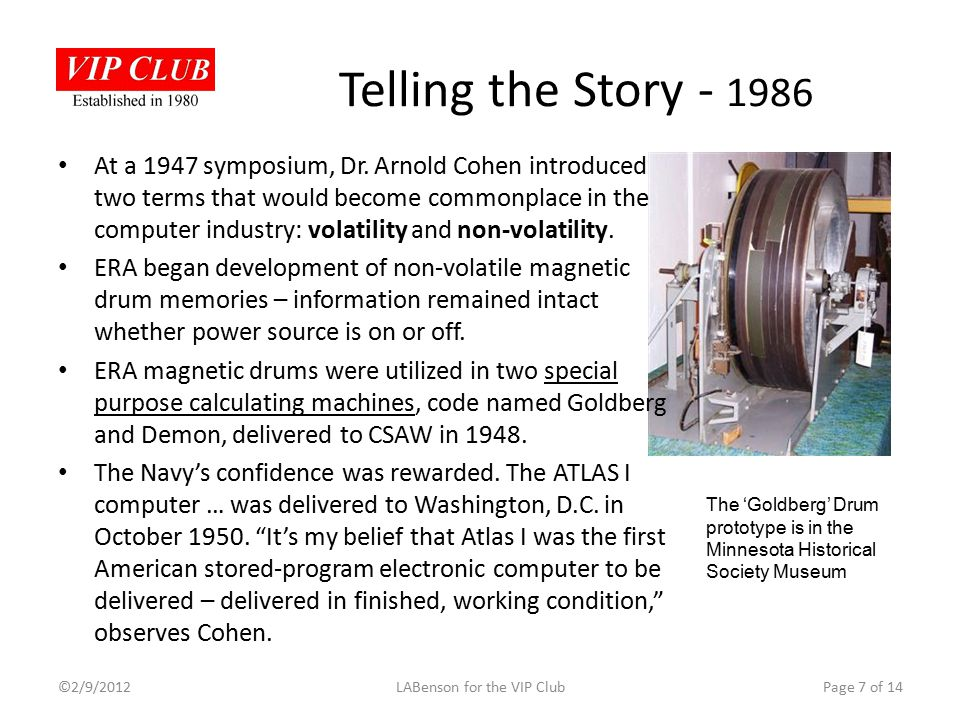 Telling the Story - 1986 At a 1947 symposium, Dr.