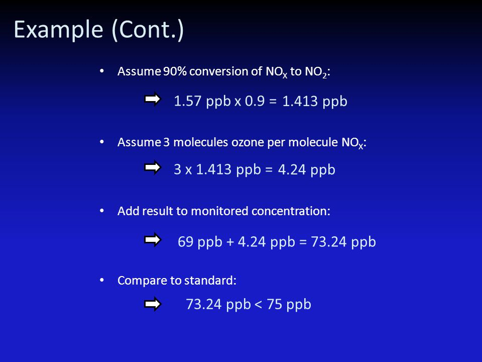 Example (Cont.) Assume 90% conversion of NO X to NO 2 : 1.57 ppb x 0.9 = 1.413 ppb Assume 3 molecules ozone per molecule NO X : 3 x 1.413 ppb = 4.24 p