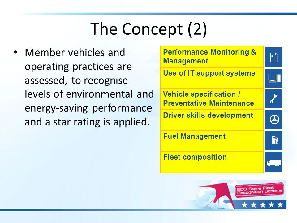 Member vehicles and operating practices are assessed, to recognise levels of environmental and energy-saving performance and a star rating is applied.