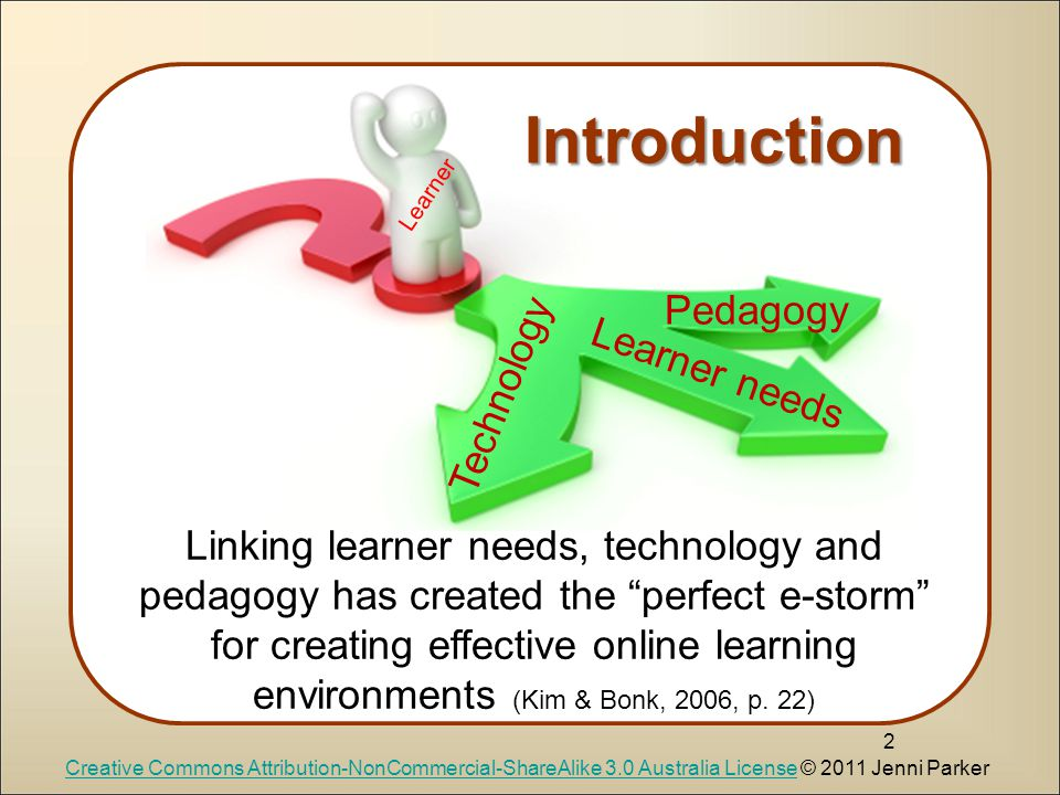 2 Learner needs Pedagogy Technology Linking learner needs, technology and pedagogy has created the perfect e-storm for creating effective online learning environments (Kim & Bonk, 2006, p.