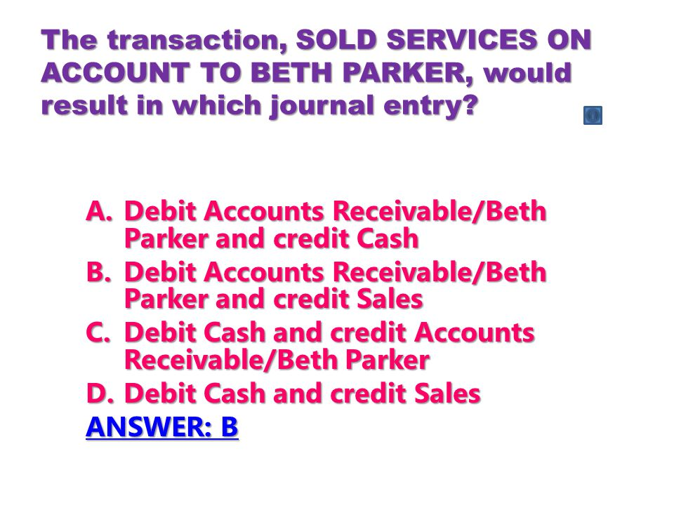 The transaction, SOLD SERVICES ON ACCOUNT TO BETH PARKER, would result in which journal entry.