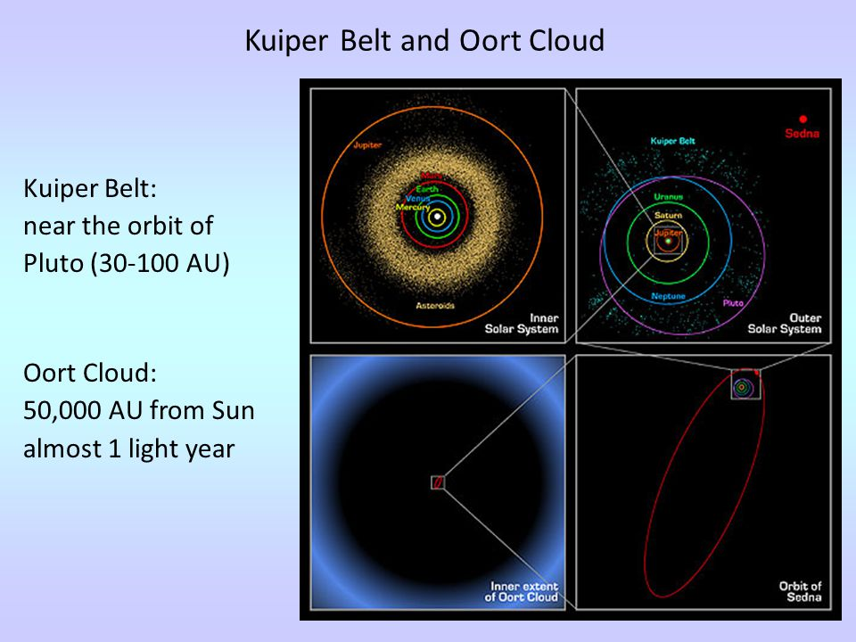 Kuiper Belt and Oort Cloud Kuiper Belt: near the orbit of Pluto (30-100 AU) Oort Cloud: 50,000 AU from Sun almost 1 light year