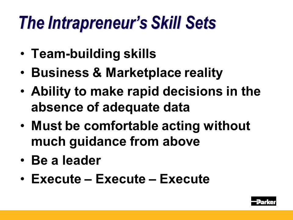 The Intrapreneur's Skill Sets Team-building skills Business & Marketplace reality Ability to make rapid decisions in the absence of adequate data Must