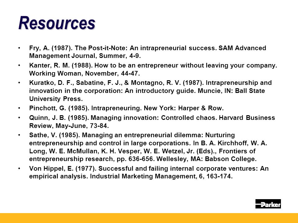 Resources Fry, A. (1987). The Post-it-Note: An intrapreneurial success. SAM Advanced Management Journal, Summer, 4-9. Kanter, R. M. (1988). How to be