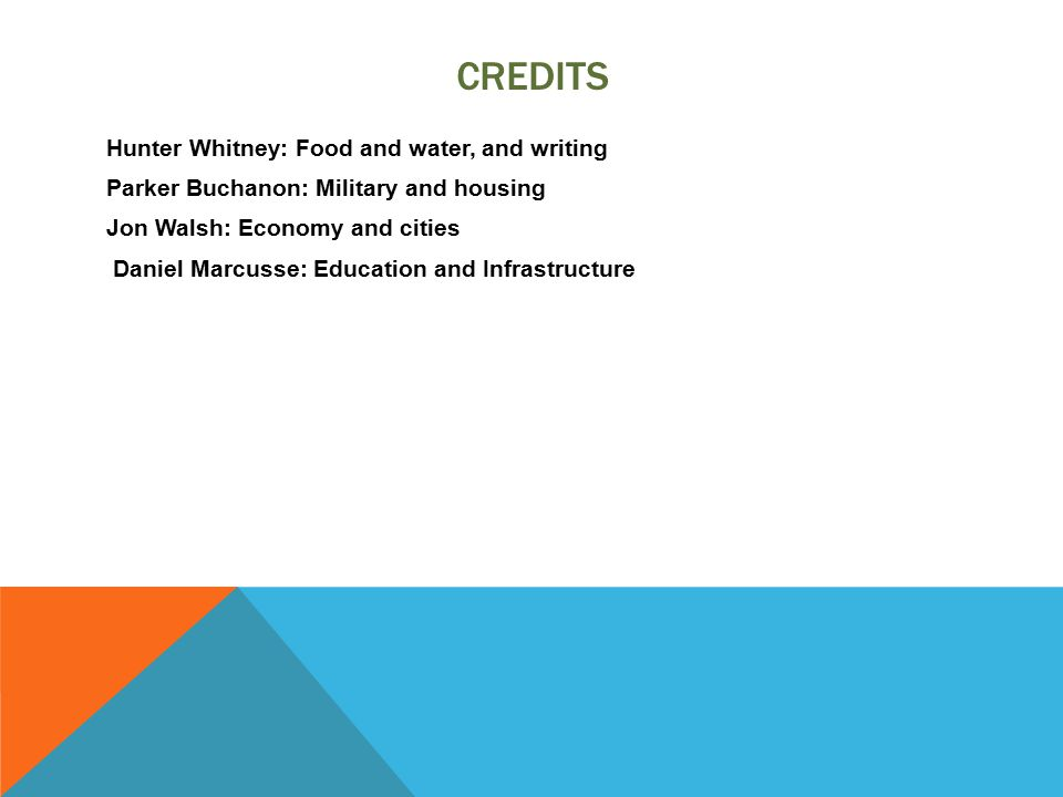 CREDITS Hunter Whitney: Food and water, and writing Parker Buchanon: Military and housing Jon Walsh: Economy and cities Daniel Marcusse: Education and Infrastructure