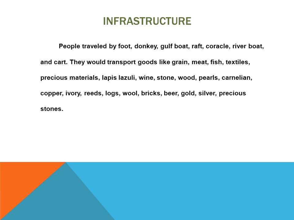 INFRASTRUCTURE People traveled by foot, donkey, gulf boat, raft, coracle, river boat, and cart. They would transport goods like grain, meat, fish, tex