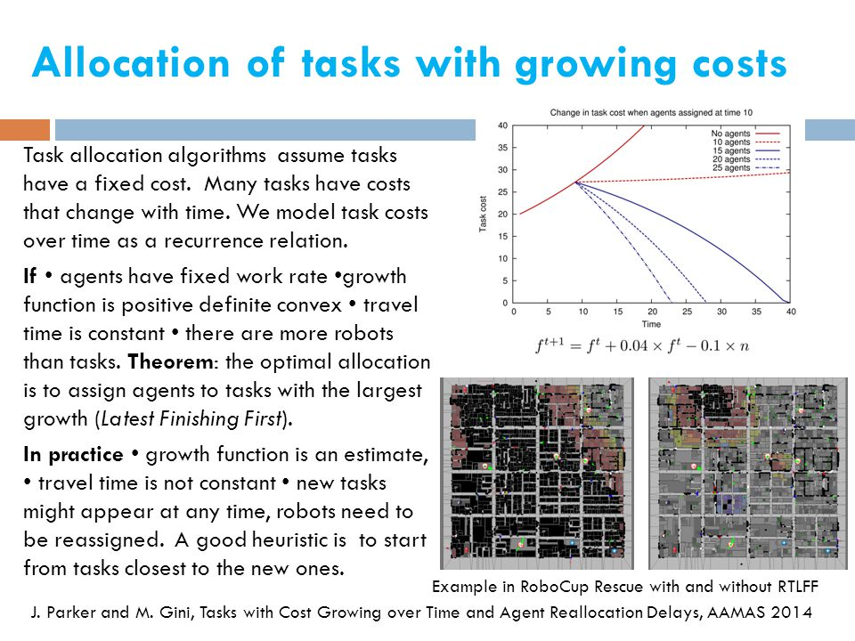 Allocation of tasks with growing costs Task allocation algorithms assume tasks have a fixed cost.