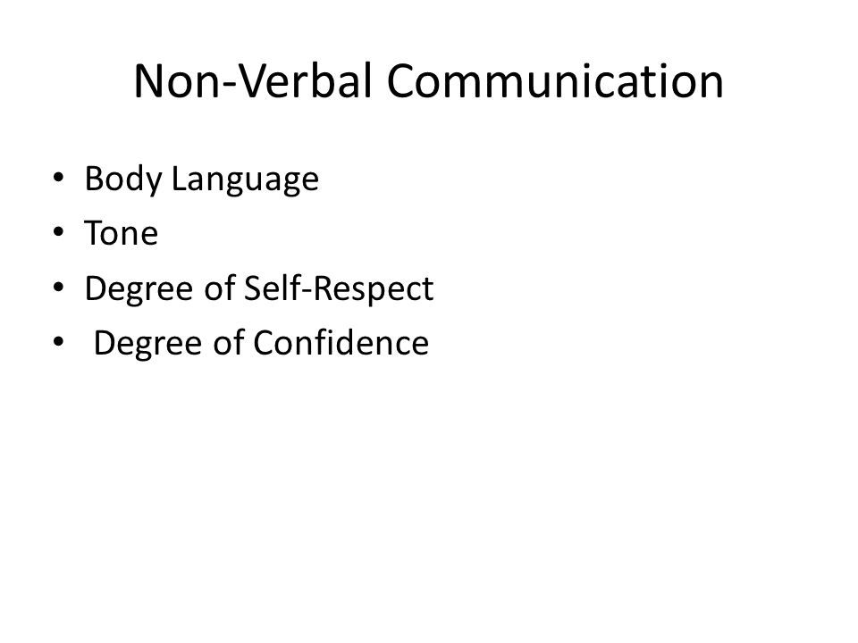Non-Verbal Communication Body Language Tone Degree of Self-Respect Degree of Confidence