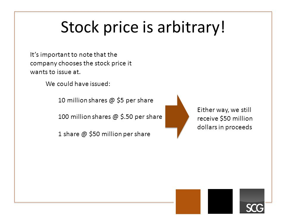 Stock price is arbitrary! It's important to note that the company chooses the stock price it wants to issue at. We could have issued: 10 million share