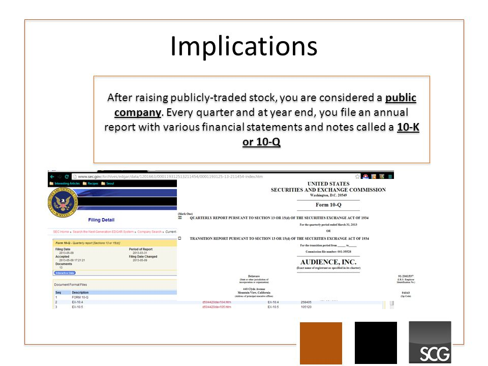 Implications After raising publicly-traded stock, you are considered a public company. Every quarter and at year end, you file an annual report with v