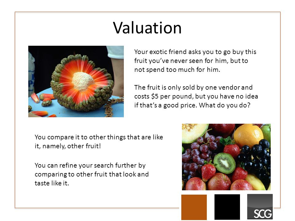 Valuation Your exotic friend asks you to go buy this fruit you've never seen for him, but to not spend too much for him.